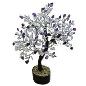 Clear Quartz and Amethyst Chips Gem Tree  Mix Stones  Chips Tree  Gemstone Tree
